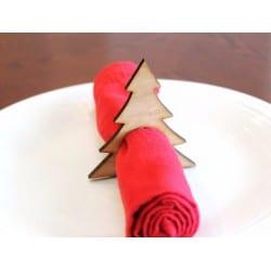 Obrączki na serwetki - drewno - Boże Narodzenie